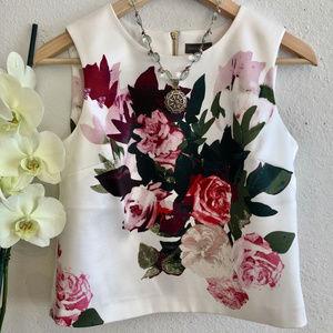 Vince Camuto, Sz PXS, White Floral Top